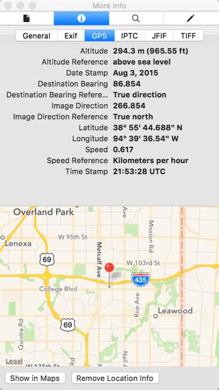 Details of photo of sidewalk including GPS data.