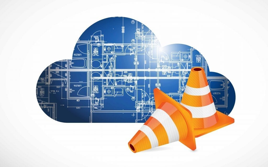 cloud computing blueprint and cones. illustration design over a white background